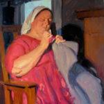 Eric Bowman, Mending, oil, 20 x 16.