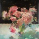 Ingrid Christensen, Peonies Full Blown, oil, 30 x 30.