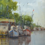 Laurel Daniel, Shrimper's Row, oil, 12 x 9.