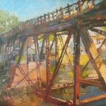 Durre Waseem, City Through the Trestle Bridge, oil, 14 x 18.