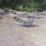 Deborah Tilby, White Boats on a Beach, oil, 18 x 24.