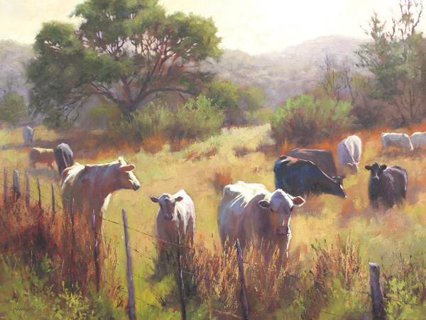 Chuck Mauldin, Hillside Herd, oil, 30 x 40.