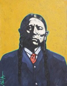 Nocona Burgess, Quanah in Red Tie, acrylic, 14 x 11.