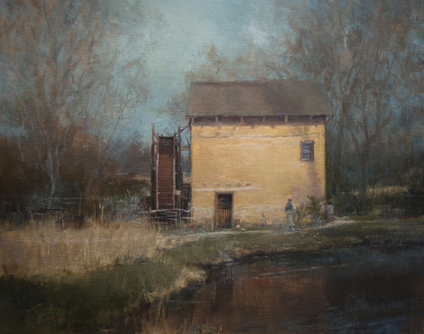Suzie Baker, Mill at El Rancho de las Golondrinas, oil, 20 x 24.