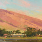 Suzie Baker, Sunset, Moonrise, oil, 8 x 24.