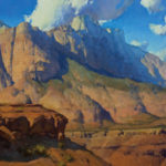 Kimball Geisler, A Zion Greeting, oil, 24 x 48.