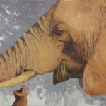 Paul Kratter, Elephant Grazing, oil, 16 x 20.