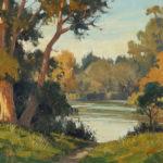 Paul Kratter, Lakeside, Fall Colors, oil, 9 x 12.