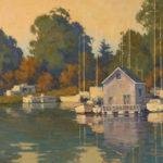 Paul Kratter, Owl Harbor Light, oil, 15 x 28.