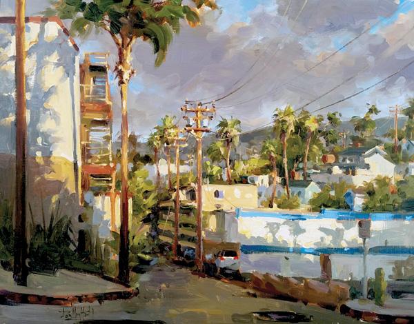 Dan Mondloch, Bright Light, Cleo Street, oil, 16 x 20.