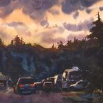 Dan Mondloch, Campfire Time, watercolor, 11 x 15.