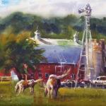 Dan Mondloch, Frontenac Horse Farm, watercolor, 11 x 15.
