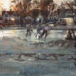 Dan Mondloch, Sunset Showdown, watercolor, 11 x 15.
