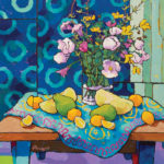 Angus, Cantaloupe Segments With Papaya on Blue, acrylic, 30 x 30.