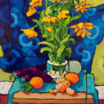 Angus, Chrysanthemums, Japanese Eggplant, & Tangerines, acrylic, 24 x 18.