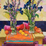 Angus, Glads & Iris on Orange, acrylic, 30 x 30.