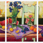Angus, Groupings of Flowers on Long Table (Two-cloth Series), acrylic, 24 x 54.