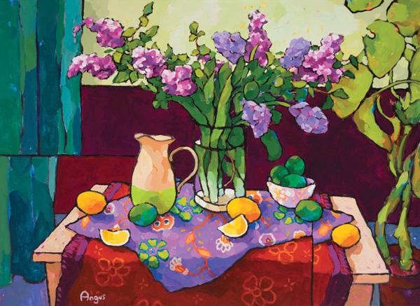 Angus, Hyacinth, Limes, & Lemons Over Purple and Red (Two-cloth series), acrylic, 30 x 40.