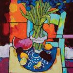 Angus, Iris & Watermelon Over Orange, acrylic, 36 x 24.