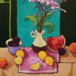 Angus, Lemons, Plums, & Watermelon on Pink, acrylic, 24 x 18.