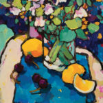 Angus, Small Grouping of Lemons & Cherries on Blue, acrylic, 12 x 9.