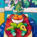 Angus, Stargazers With Papaya & Limes Over Blue, acrylic, 36 x 20.