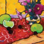 Angus, Study of Cherries With Poppies, acrylic, 9 x 12.