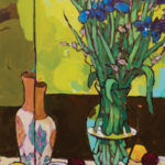 Angus, Tall Blue Irises With Lemons & Plums, acrylic, 40 x 20.