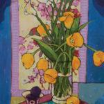 Angus, Tulips & Lilies Over Cranes, acrylic, 36 x 18.