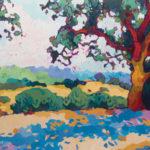 Angus, Under the Shade of the Oak, acrylic, 28 x 36.