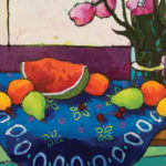 Angus, Watermelon Segment & Fruit on Blue Cloth, acrylic, 18 x 36.