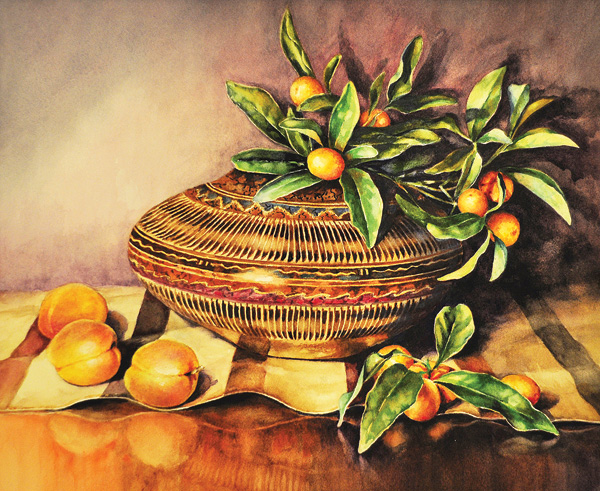 Gail Faulkner, Navajo Kumquats, watercolor, 11 x 13.