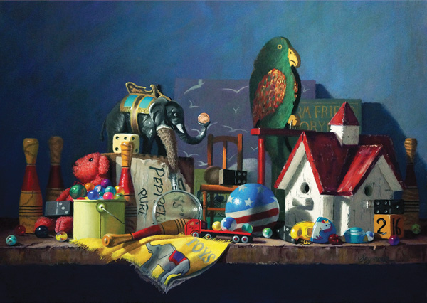 Claudia Seymour, Toys in the Attic, pastel, 15 x 22.