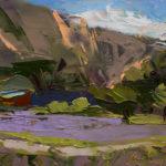 Merrimon Kennedy, Lavender Farm Study, Abiquiu, oil, 5 x 7.