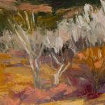 Merrimon Kennedy, Santa Fe Preserve, Late Winter, oil, 9 x 12.