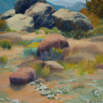 Cathy Haight, Hiking in the Sandia Foothills, oil, 34 x 28.