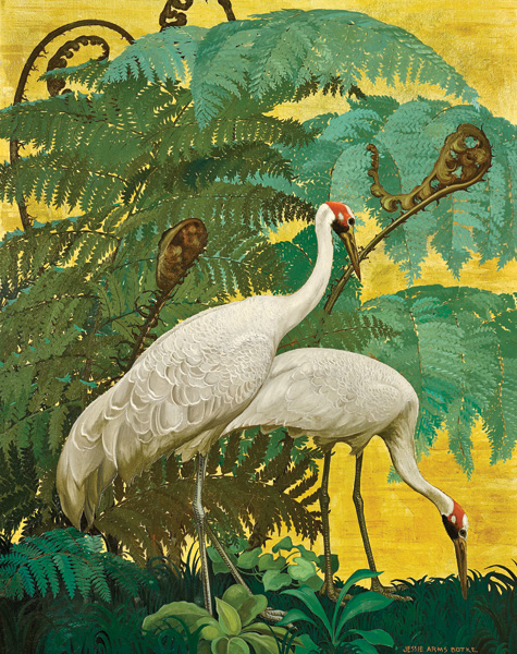 JESSIE ARMS BOTKE, CRANES UNDER A GIANT FERN, C. 1943, OIL/GOLD LEAF, 40 X 32.