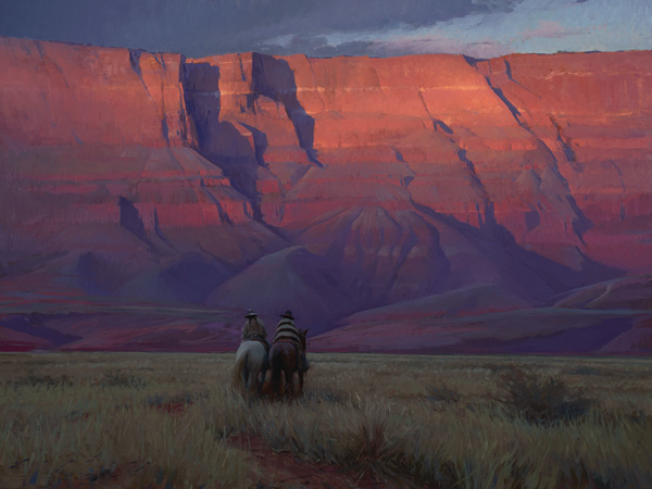 Jeremy Lipking, Riders Under Vermilion Cliffs, 2015, oil, 30 x 40, collection of Michael and Judy Lombard.