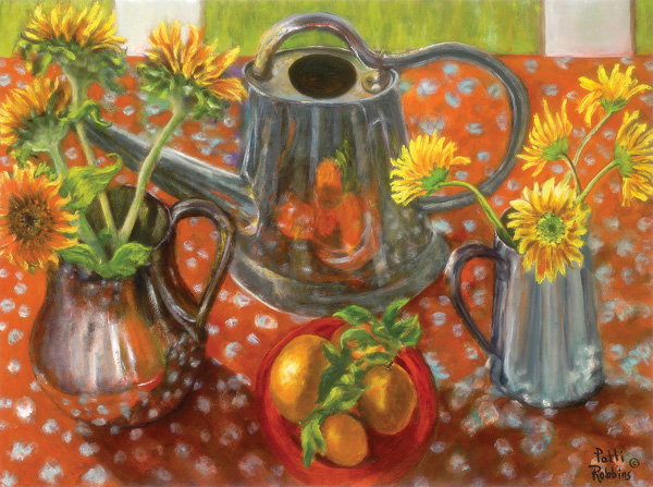 Patti Robbins, Fruit, Flowers & Watering Cans, oil, 30 x 40.