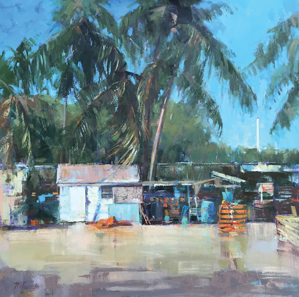 Nancy Tankersley, Lobster Shack Morning, oil, 30 x 30, private collection.