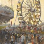 Hilarie Lambert, The Ferris Wheel, oil, 30 x 15.