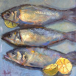 Hilarie Lambert, Fresh Catch, oil, 24 x 24.