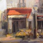 Hilarie Lambert, A Little Paris Cafe, oil, 6 x 8.
