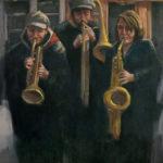 Hilarie Lambert, Street Musicians, oil, 24 x 20.
