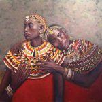 Dottie Stanley, Love (Maasai Women), oil, 30 x 30.