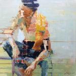 Michael Azgour, Integration: Irek, oil, 40 x 40.