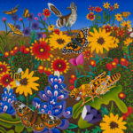 Billy Hassell, Roadrunner With Butterflies and Grasshopper, oil, 50 x 48.