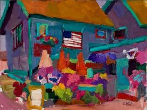 Larisa Aukon, A Famous Place, oil, 12 x 16.