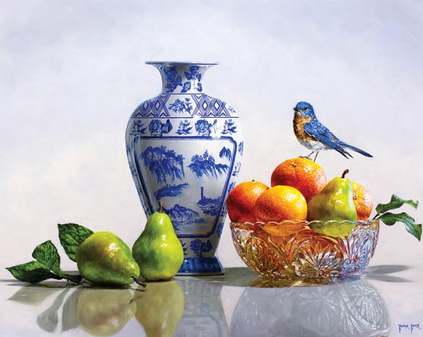 Rebecca Korth, Bluebird, Bartletts & Cara Caras, oil, 24 x 30.