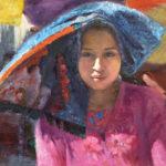 Jing Zhao, Guatemalan Girl in the Market, oil, 20 x 24.